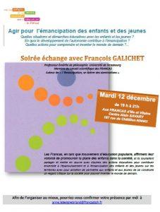 Agir pour l'émancipation des enfants et des jeunes – soirée échange avec François GALICHET
