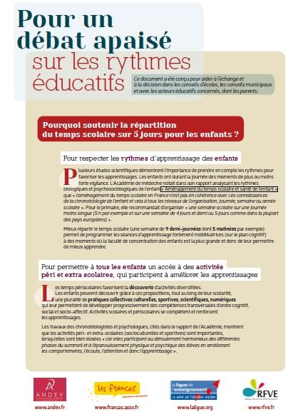 Pour un débat apaisé sur les Rythmes Educatifs